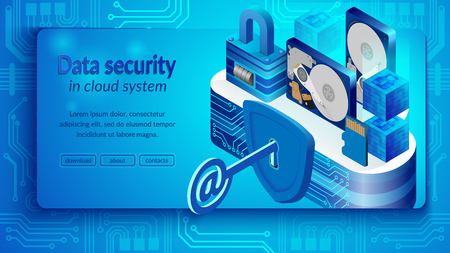 Concept of cloud datacenter system security. Isometric projection of banner vector illustration security of cloud storage technologies and personal information. Secure cloud storage