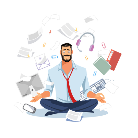 Businessman or Office Worker Sitting in Lotus Pose, Meditating on Workplace, Trying to Stay Calm in Tasks Chaos Flat Vector Illustration Isolated on White Background. Stress Relief and Balance in Work