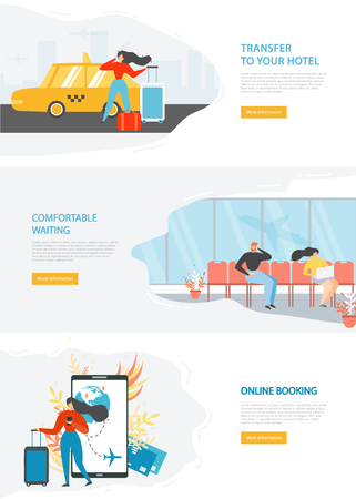 Modern Tourism Company, Online Service for Travelers Flat Vector Web Banners Set with People Ordering Taxi, Waiting Flight in Airport, Booking Airline Tickets in Internet. Travel Agency Landing Pages Illustration