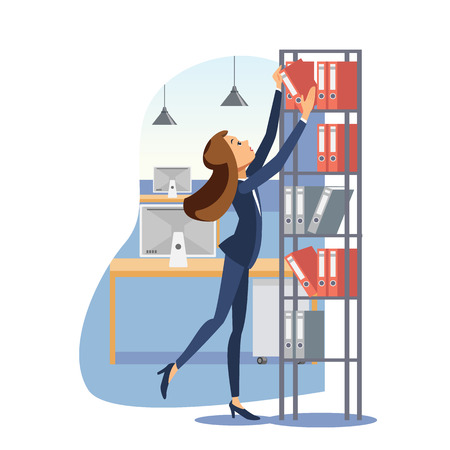 Young Woman Working in Office with Documents, Getting Binder from Rack Top Shelf Flat Vector Illustration Isolated on White Background. Daily Office Work Routine, Company Trainee Practice Concept