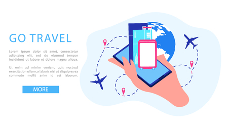 Go Travel Flat Vector Web Banner with Airline Tickets and Luggage on Cellphone Screen in Humans Hand and Airplanes Flying Around Globe Illustration. Tourism Company or Travel Agency App Landing Page Zdjęcie Seryjne - 127636989