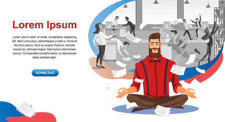 Personal Productivity in Business Online Service Cartoon Vector Horizontal Web Banner with Businessman Meditating in Noisy Office Illustration. Stress Relief Course for Company Employee Landing Page