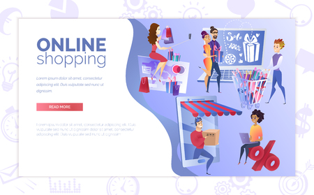 Online Shopping Cartoon Vector Web Banner or Landing Page with Young Multinational People Characters, Buying Presents, Making Purchases, Ordering Goods with Courier Delivery In Internet Illustration