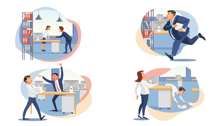 Business people characters in stressful situations flat vector set isolated on white. Angry boss scolding company employee, businessman late, hurry on business meeting, perplexed colleagues in office Illustration