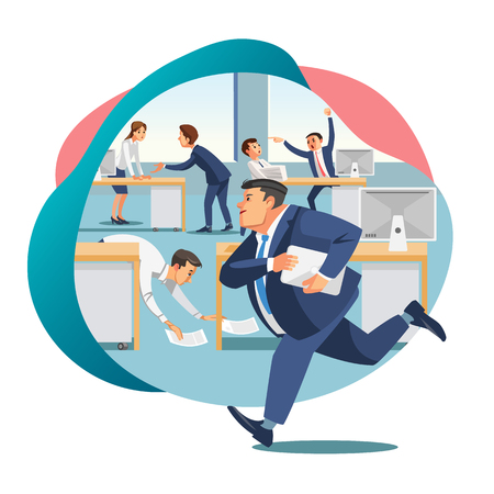 Chaos in Office, Approaching Project Deadline Flat Vector Concept with Perplexed, Arguing in Work Business People, Company Employee Hurrying with Documents Illustration Isolated on White Background Zdjęcie Seryjne - 127636993