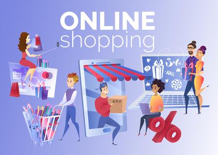 Ilustración de vector de dibujos animados de compras en línea con jóvenes multinacionales que compran productos, ordenan la entrega de la tienda, usan descuentos en las ventas de las tiendas en Internet. Concepto de negocio de comercio internacional