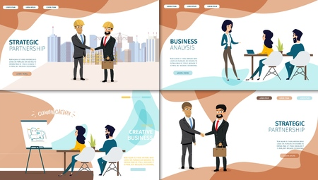 Business Strategic Partnership, Creative Teamwork and Financial Investments Analysis Flat Web Banners or Landing Pages Set with Business People Working Together in Office, Happy Partners Shaking Hands