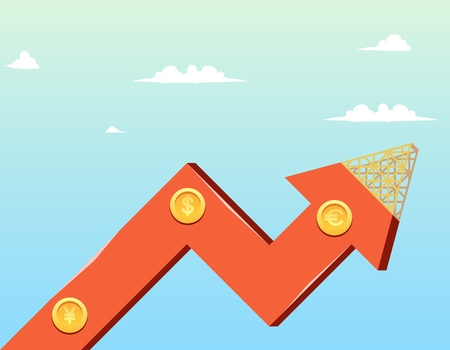 Vector Illustration Cartoon Growth Company Economy. Image growth Graph Construction Company Economy against Background Blue Sky with Clouds. Gold Coins on Arrow with Signs Euro, Dolar, Yen
