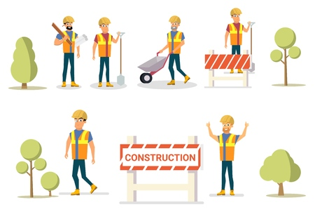 Vector Illustration Cartoon Set Builder Group. Group Construction Site Workers, Trees. Isolated on White Background. Set Male Builders in Uniform. Construction Tools for Work in enterprise building.
