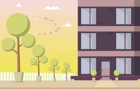 Illustrazione di vettore Edificio residenziale del cortile. Immagine cartone animato Parte una nuova casa situata con area parco contro il cielo con uccelli al tramonto. Parco con alberi intorno all'edificio residenziale. Vettoriali