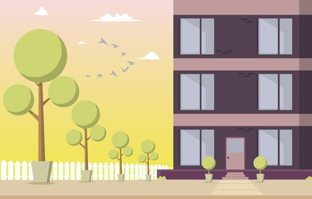 Vector Illustration Courtyard Residential Building. Cartoon image Part a New House Located with Park area Against Sky with Birds at Sunset. Park with Trees around Residential Building. Vettoriali