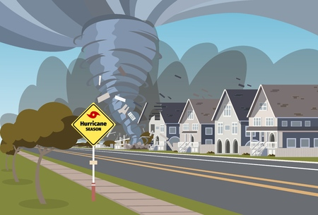 Vector illustration of a destructive hurricane. Vector illustration of a cartoon hurricane destroying a residential buildings on its way. The concept of climate threat to the population Ilustração