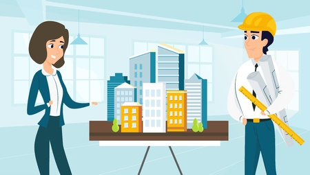 Architect and customer look at the layout the city. Vector illustration of working cartoon characters in coworking studio. The concept of construction, architecture, design Vettoriali