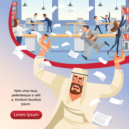 Angry boss screams in chaos at his subordinates. Stressed banner vector cartoon characters. Office workers hurry up with job. Fun cartoon characters. Vector illustration of work situation.