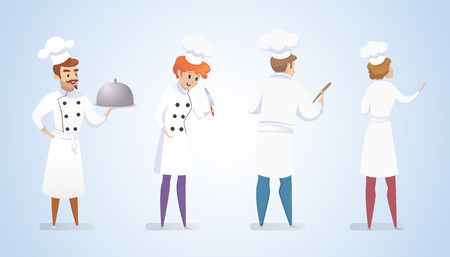 Culinary Concept Illustration Restaurant Business. Vector Illustration Cartoon Set Group Restaurant Chefs Isolated Blue Background. Master Chef holds Finished Dish. Girl Cook holds Knife in his Hand