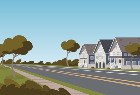 Vector illustration road along the inhabited city. Vector illustration of a cartoon road passing through a small populated town with townhouses. The concept of life outside the city 向量圖像
