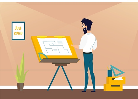 Architect is working on the project the premises. Vector illustration of working cartoon characters in coworking studio. The concept of construction, architecture, design, workplace