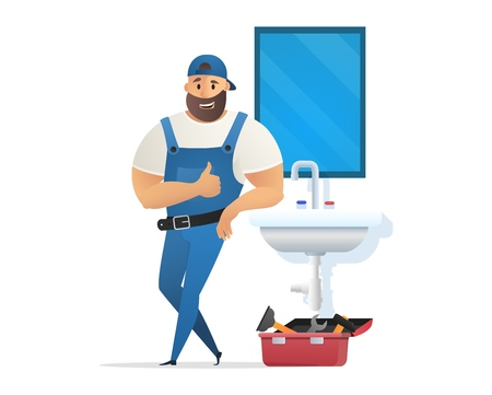 Vector Illustration Concept Plumber Service. Vector Image Cartoon Character Plumber in Blue Uniform Leaning on Sink Holding Finger Up. Toilet Mirror over Sink. Isolated on White Background