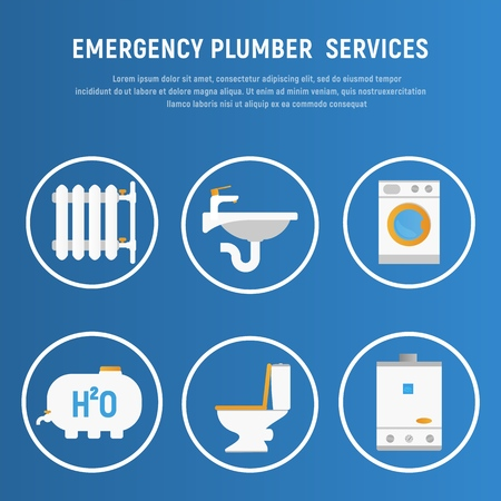Vector Illustration Concept Plumbing Fixture. Banner Image Cartoon Set Icon Emergency Plumber Services. Battery Water Dispenser. Washing Machine. Reservoir with Water. Toilet. Boiler. Blue Background