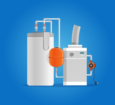 Vector Illustration Concept Plumbing Fixture. Vector Image Cartoon Electric Boiler for Heating Water. Industrial Equipment for Home. Plumbing Appliances. Isolated on Blue Background