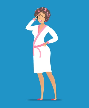 Vector Illustration Concept Plumber Service. Vector Image Cartoon Character Housewives in White Bathrobe Calling Plumbing Company call Master to Fix Plumbing Breakdowns. Isolated on Blue Background Vectores