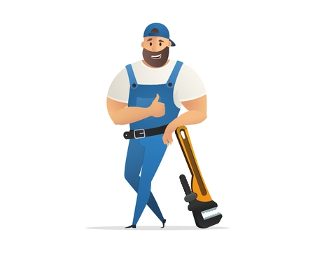 Vector Illustration Concept Plumber Service . Vector Image Cartoon Character Plumbing based on Large Wrench. Plumbing Work Tool to fix Plumbing Problems. Isolated on White Background Illustration