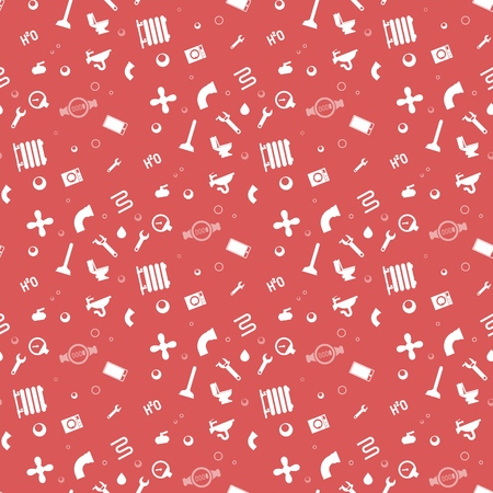 Illustration Pattern Concept Plumbing Fixture. Vector Cartoon Seamless Image Set Silhouette Working Tool Plumbing Company Worker Isolated on Red Background. Concept gift Wrapping, cards