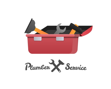 Vector Illustration Concept Plumber Service. Vector Image Cartoon Red Open Toolbox with Plumbing. Inscription Plumber Service with Plumbing Repair Tool. Isolated White Background