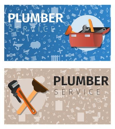 Vector Illustration Concept Plumber Service. Vector Cartoon Set Banner Image Toolbox Isolated on Blue Background. Plunger and Spanner Isolated on a Beige Background. Silhouette Tool, Boiler, Toilet 矢量图像