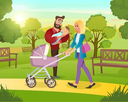 Vector Cartoon Illustration Concept Happy Family. Image Young Family on Walk in Park with Child in Fresh Air. Father Hold Newborn Baby in his Hand. Mother Carries Baby Pink Stroller. Ilustração
