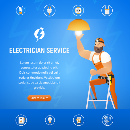 Vector Illustration Concept Electrician Service. Square Banner Vertical Banner Image Smiling Cartoon Character in Blue Uniform Changing Light Bulb in Chandelier. Standing. Isolated on Blue Background