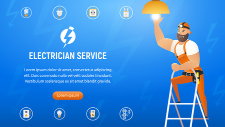 Vector Illustration Concept Electrician Service. Horizontal Banner Image Smiling Cartoon Character in Blue Uniform Changing Light Bulb in Chandelier. Standing Stepladder. Isolated on Blue Background Illustration