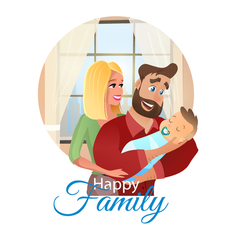Vector Cartoon Illustration Concept Happy Family. Image Happy Mother Hugging her Smiling Husband Holding Newborn Baby in her Hand. Family Puts Baby to Sleep. In Frame Isolated on White Background  イラスト・ベクター素材