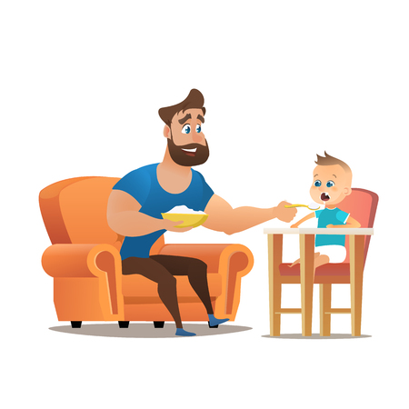 Vector Cartoon Illustration Concept Happy Father. Image Young Smiling Father Sitting in Chair, Feeding with Spoon a Little Son Sitting in Children Chair, Semolina. Isolated on White Background
