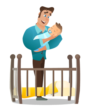 Vector Cartoon Illustration Concept Happy Father. Image Young Man Holding Newborn Baby. Happiness Cute Baby in Father Hand. Father Puts Baby to Sleep in Wooden Crib. Isolated White Background