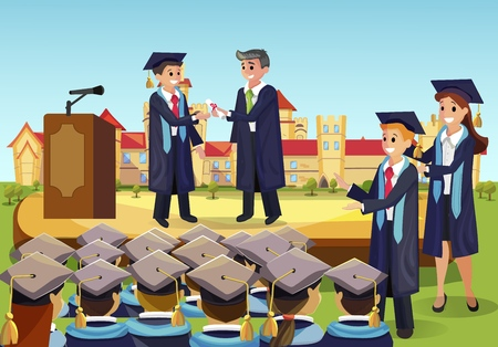 Vector Concept Illustration Cartoon Happy Students. Image University Graduation Process. Dean Gives Students Diploma from Institute in Front Group Fellow Students. Happy Students Applaud Ilustrace