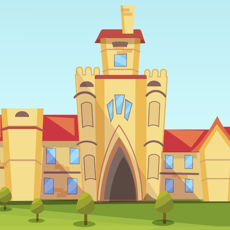 Vector Concept Illustration Building Institute. Image Cartoon Facade and Main entrance Building University. Higher Education Institution. Building National Institute of Economics Illustration
