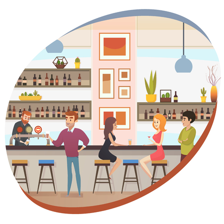 Modern Restaurant Bar, Cafe or Pub Flat Vector Banner with Barman at Bar Counter Pouring Beer and Clients Ordering and Drinking Alcohol Beverages Illustration. People Conversation in Bar. Night Life Vector Illustration