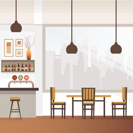 Restaurant, Pub or Cafe Bar Flat Vector Interior with Stools at Counter, Shelves with Alcohol Bottles, Photo or Drawings on Wall, Chair near Table and City Landscape Outside the Window Illustration