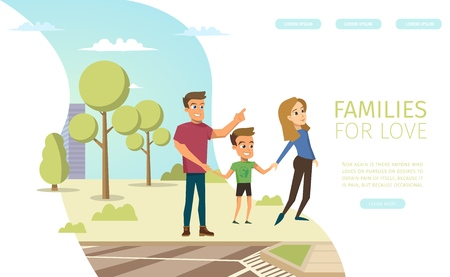 Families for Love Flat Vector Horizontal Web Banner with Happy Smiling Father and Mother Walking with Child, Spending Time In City Park with Little Son Illustration. Traditional Family Values Concept