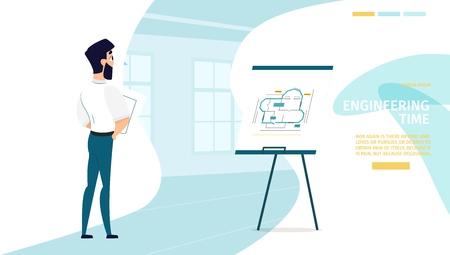 Engineering Time Cartoon Vector Web Banner oder Landing Page mit Architekten oder Ingenieuren, die mit Bauzeichnungen, Architekturplänen arbeiten. Website-Vorlage für Industriedesign-Unternehmen Vektorgrafik