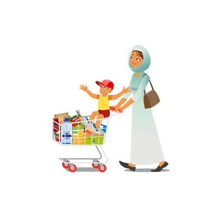 Arab or Muslim Woman in Hijab Walking with Happy Boy Sitting on Supermarket Shopping Cart Full of Food Products Cartoon Vector Characters Isolated on White Background. Mother Buying Groceries with Son