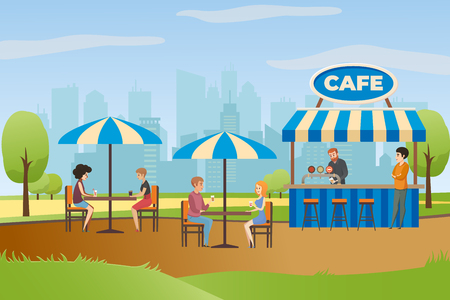 People Resting and Drinking Beverages in Street Cafe or Fast Food Bar in City Park Flat Vector. Summer Outdoor Restaurant with Bar Counter under Canopy and Tables with Umbrellas. Small Local Business