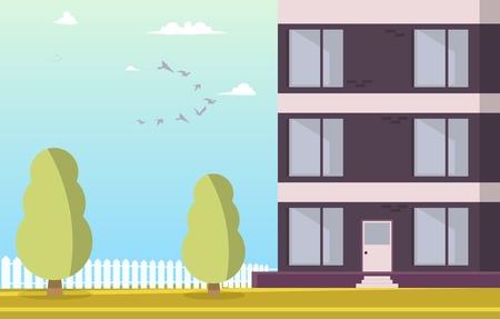 Illustrazione di vettore Edificio residenziale del cortile. Immagine cartone animato Parte una nuova casa situata con area parco contro il cielo con uccelli all'alba. Parco con alberi intorno all'edificio residenziale.