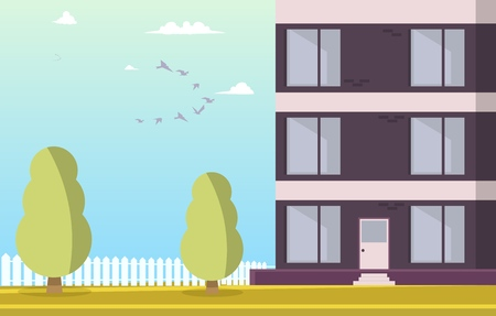 Vector Illustration Courtyard Residential Building. Cartoon image Part a New House Located with Park area Against Sky with Birds at Sunrise. Park with Trees around Residential Building.