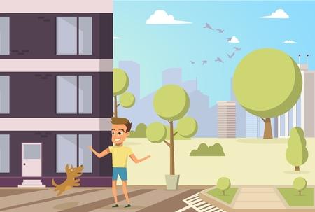 Illustrazione di vettore Piccolo cane e ragazzo del fumetto. Immagine di concetto Uomo di amicizia con l'animale. Ragazzino che gioca con il suo cane felicemente nel cortile dell'edificio residenziale. Proprietario del cane rosso che salta