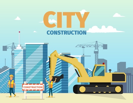 Vector Concept Modern City Construction Buildings. Vector Illustration Cartoon Construction Excavator, Group Male Builders Uniform Building Construction Site. Equipment, People Against Background City