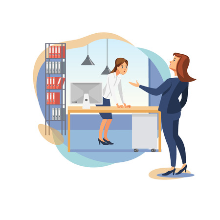 Angry Businesswoman, Company Leader Claiming on Female Employes Bad Work, Scolding Office Worker, Arguing Because of Fails or Mistakes in Papers Flat Vector Illustration. Stress on Workplace Concept Illusztráció
