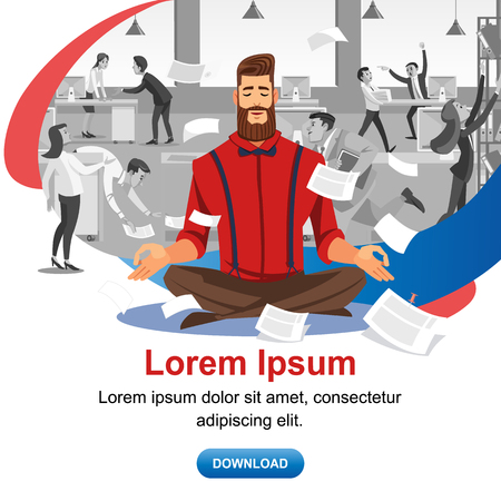 Personal Productivity in Business Online Course Cartoon Vector Web Banner or Landing Page with Businessman Meditating in Noisy Office, Practicing Yoga for Concentration Increase and Stress Relief