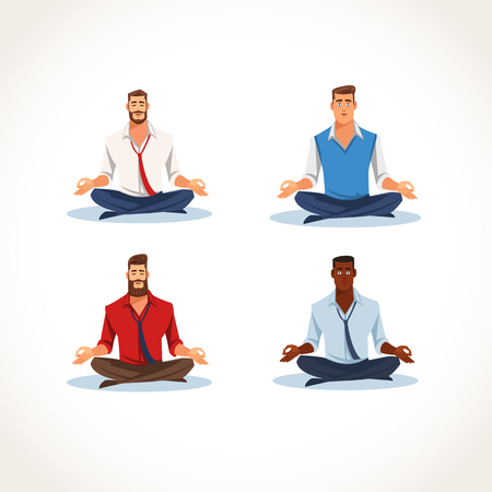 Set of Multinational Businessman, Office Worker Sitting in Lotus Pose and Meditating Flat Vector Illustration Isolated on White. Business People Practicing Yoga for Strength Recovery and Stress Relief